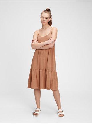 Hnědé dámské šaty racerback tiered midi dress