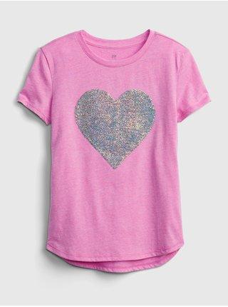 Růžové holčičí dětské tričko flippy sequin graphic t-shirt