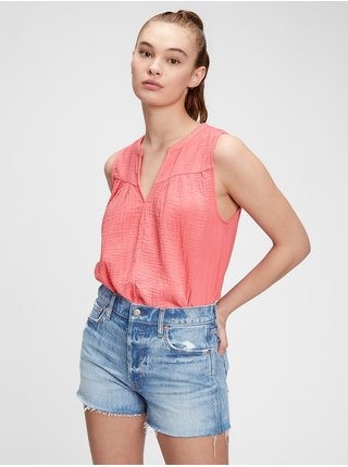 Růžový dámský top sleeveless gauze