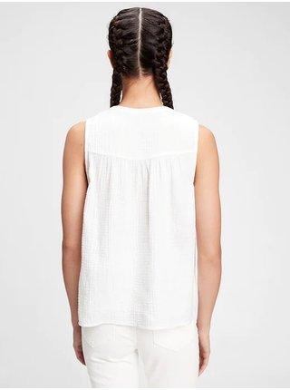 Bílý dámský top sleeveless gauze