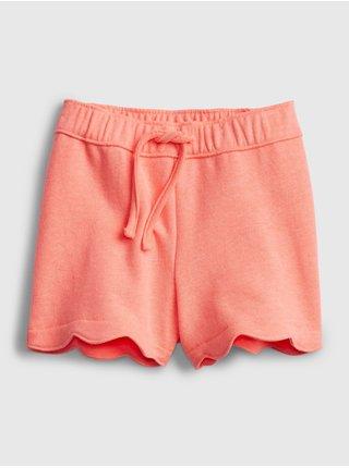 Oranžové holčičí dětské kraťasy scalloped pull-on shorts