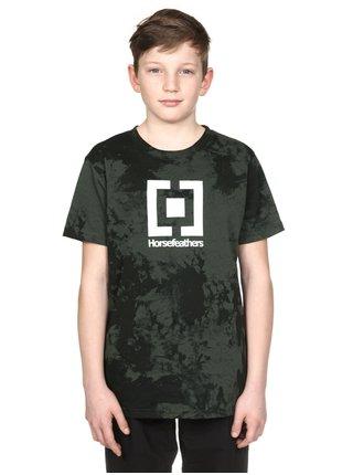Horsefeathers BASE gray tie dye dětské triko s krátkým rukávem - černá