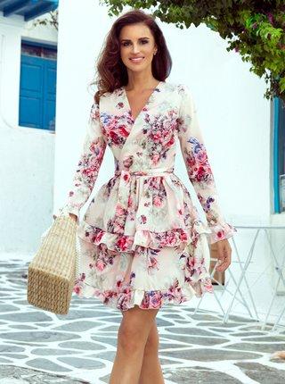 Růžovo-bílé květované šaty se zavazováním numoco