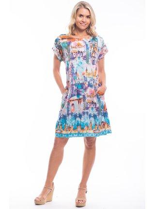 Orientique barevné áčkové šaty Torre Del Oro s barevnými motivy