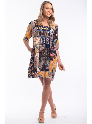 Orientique tmavě modré áčkové šaty Andalucia se vzory