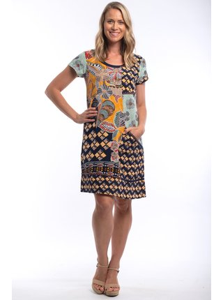 Orientique farebné voľné šaty Andalucia so vzormi