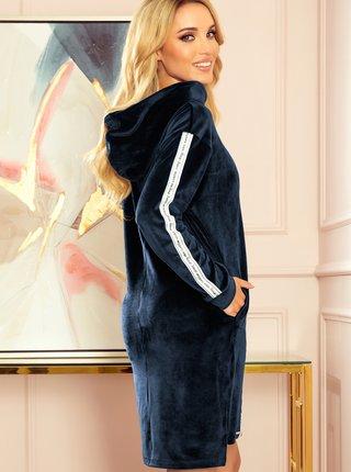 Tmavě modré mikinové šaty s kapucí numoco