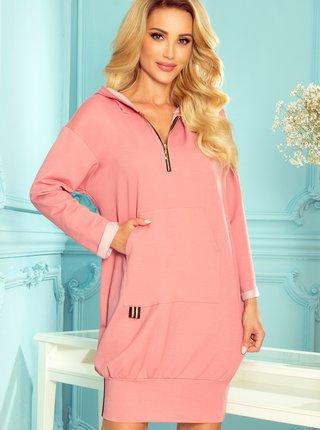 Růžové mikinové šaty s kapucí numoco