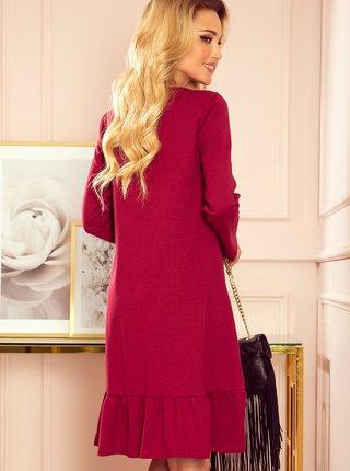 Vínové volné šaty s volánem numoco