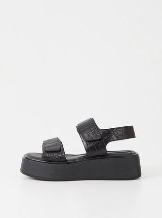 Čierne dámske vzorované kožené sandále na platforme Vagabond