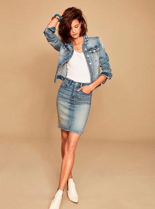 Modrá pouzdrová džínová sukně VILA Felicia