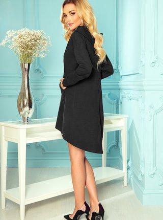 Čierne mikinové šaty s kapucou numoco