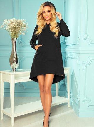 Černé mikinové šaty s kapucí numoco