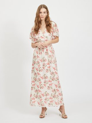Ružovo-biele kvetované maxišaty VILA Kathryn