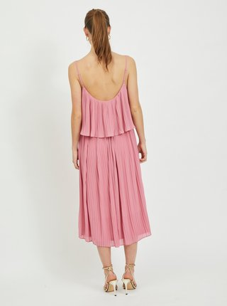 Ružové plisované midišaty VILA Katelyn