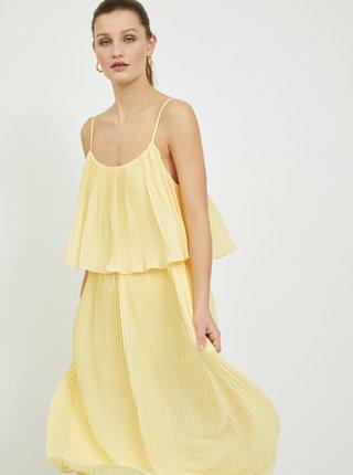 Žlté plisované midišaty VILA Katelyn