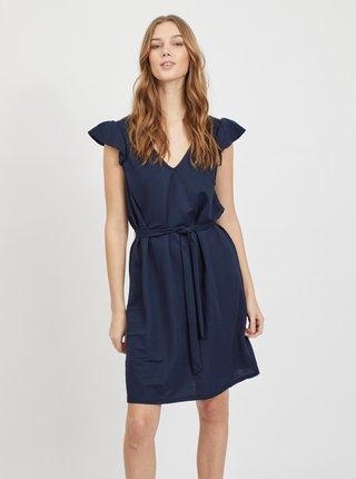 Tmavomodré šaty so zaväzovaním VILA Wandera