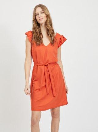 Koralové šaty so zaväzovaním VILA Wandera