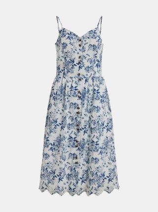 Modro-biele květované šaty s gombíkmi VILA Camelina