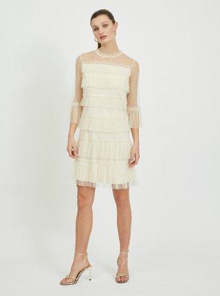 Krémové šaty s volánmi VILA Selma