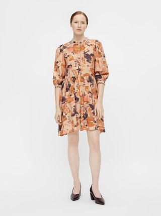 Oranžové vzorované šaty s gombíkmi .OBJECT Galina