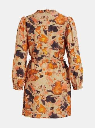 Oranžové vzorované košeľové šaty .OBJECT Galina