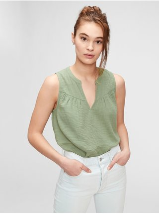 Zelený dámský top sleeveless gauze