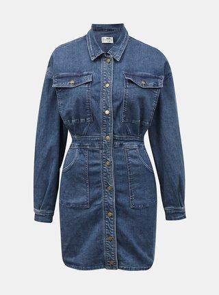 Modré džínové košilové šaty s kapsami TALLY WEiJL