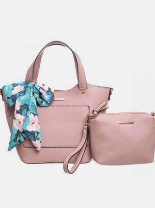 Ružová kabelka s púzdrom a ozdobnou šatkou Bessie London