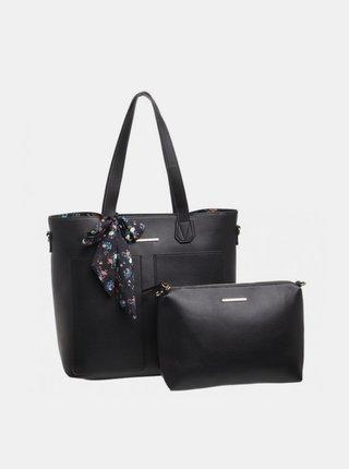 Čierna kabelka s púzdrom a ozdobnou šatkou Bessie London