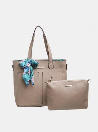 Béžová kabelka s pouzdrem a ozdobným šátkem Bessie London