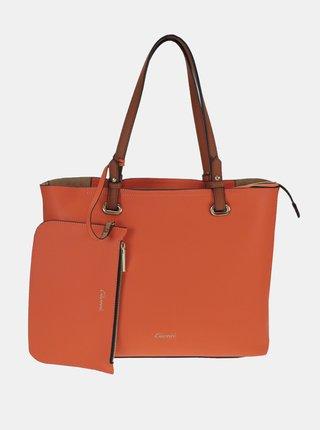 Oranžový shopper s malým púzdrom Gionni