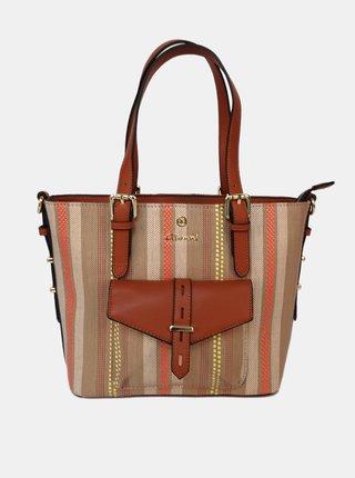 Hnedá pruhovaná kabelka Gionni