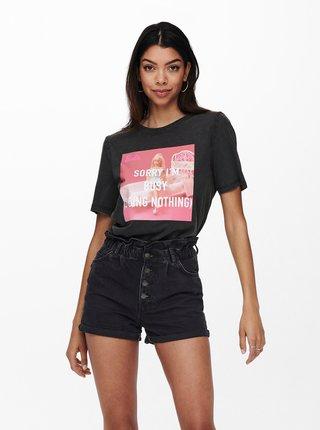 Černé tričko s potiskem ONLY Barbie
