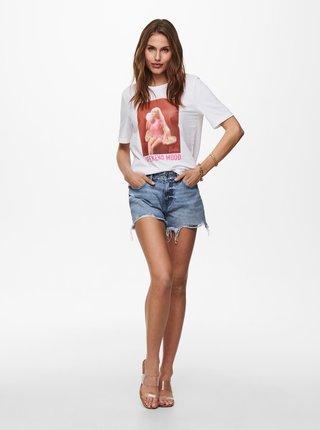 Bílé tričko s potiskem ONLY Barbie