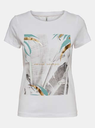 Bílé tričko s potiskem ONLY Macy