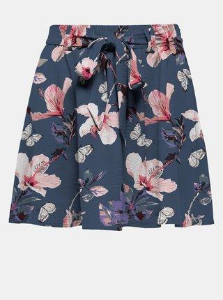 Modrá květovaná sukně se zavazováním ONLY Nova