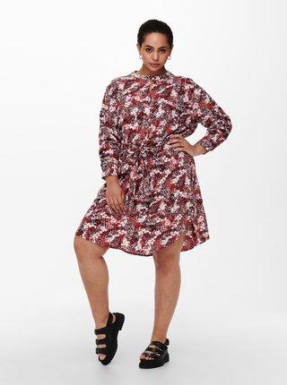 Hnědé vzorované šaty se zavazováním ONLY CARMAKOMA Bandi