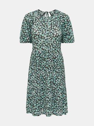 Zelené květované šaty s průstřihem na zádech ONLY Pella