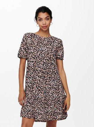 Hnedo-čierne kvetované šaty s priestrihom na chrbte ONLY Pella