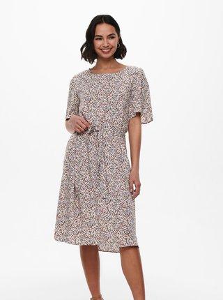 Krémové kvetované šaty so zaväzovaním Jacqueline de Yong Staar