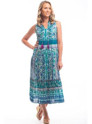 Orientique maxi šaty Ibiza Green s barevnými motivy