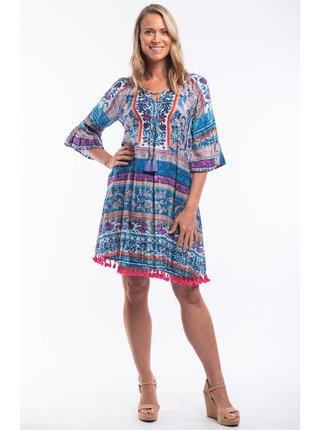 Orientique modré letní šaty Ibiza Blue se vzory