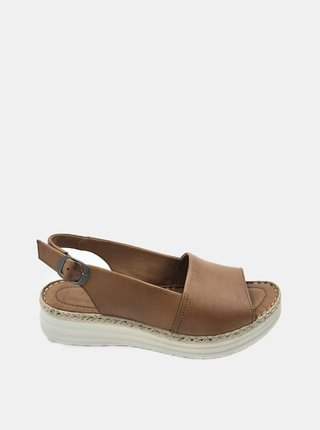Hnědé kožené sandálky na platformě WILD