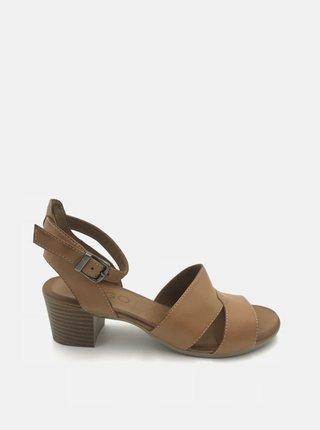 Hnědé kožené sandálky na podpatku WILD