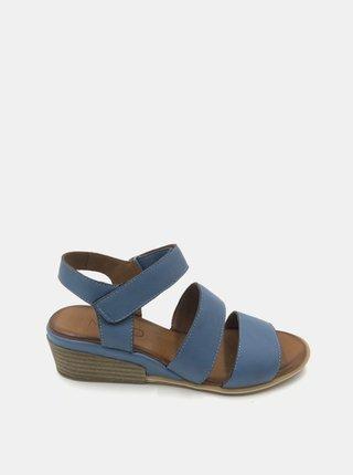 Modré kožené sandálky na plnom podpätku WILD