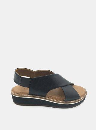 Čierne kožené sandálky na platforme WILD
