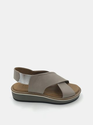 Šedé kožené sandálky na platformě WILD