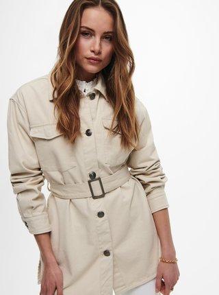 Krémová ľahká bunda s opaskom ONLY Milla