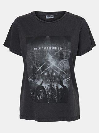 Čierne tričko s potlačou Noisy May Nate